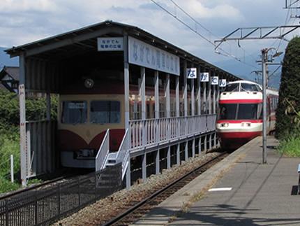 長野電鉄電車の広場