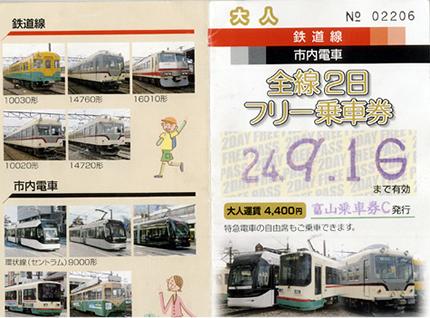 富山地鉄フリー切符