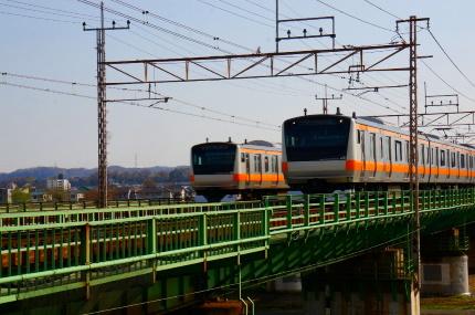 多摩川の中央線